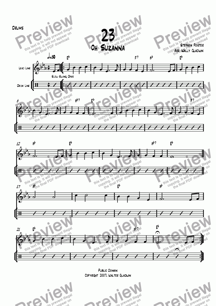 page one of the Drums part from Dixiechart 23. Oh Suzanna