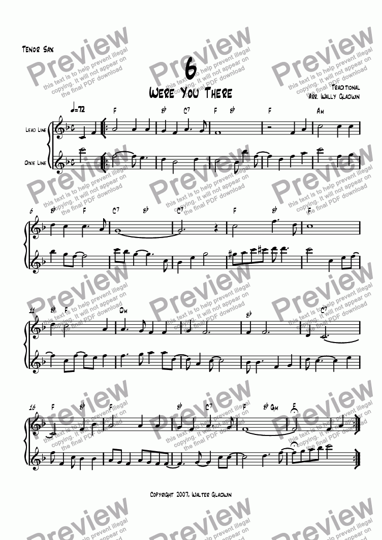page one of the Tenor Sax part from Dixiechart 06. Were You There