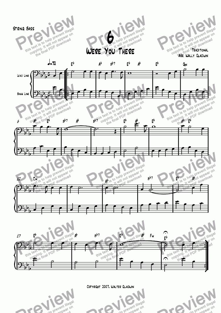 page one of the Bass part from Dixiechart 06. Were You There