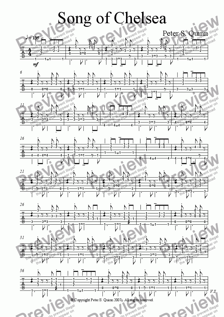 page one of the Electric Guitar part from Song of Chelsea