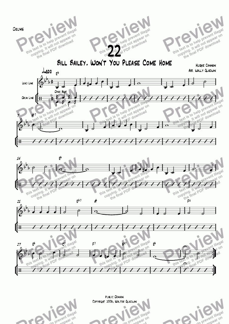 page one of the Drums part from Dixiechart 22. Bill Bailey, ... Please Come Home