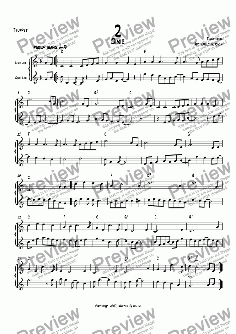 page one of the Trumpet part from Dixiechart 02. Dixie