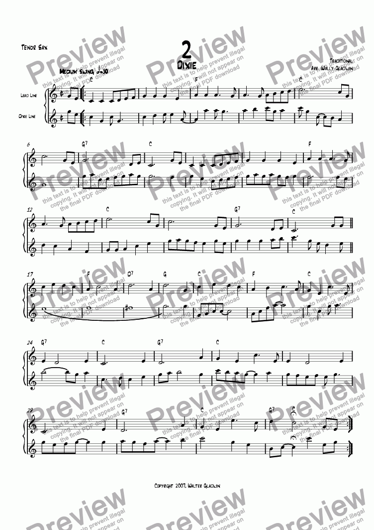 page one of the Tenor Sax part from Dixiechart 02. Dixie