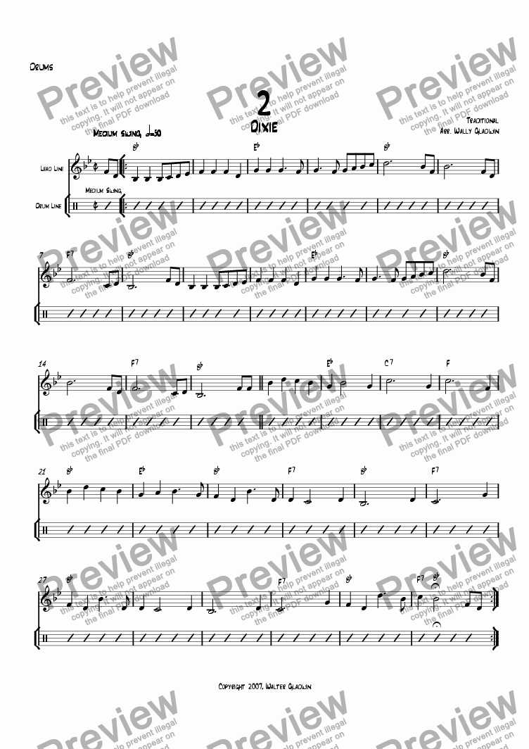 page one of the Drums part from Dixiechart 02. Dixie