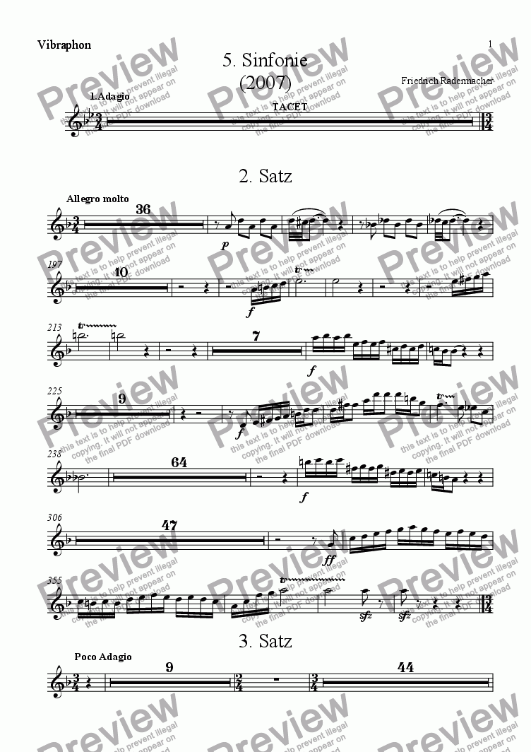 page one of the Vibraphon part from 5.Sinfonie