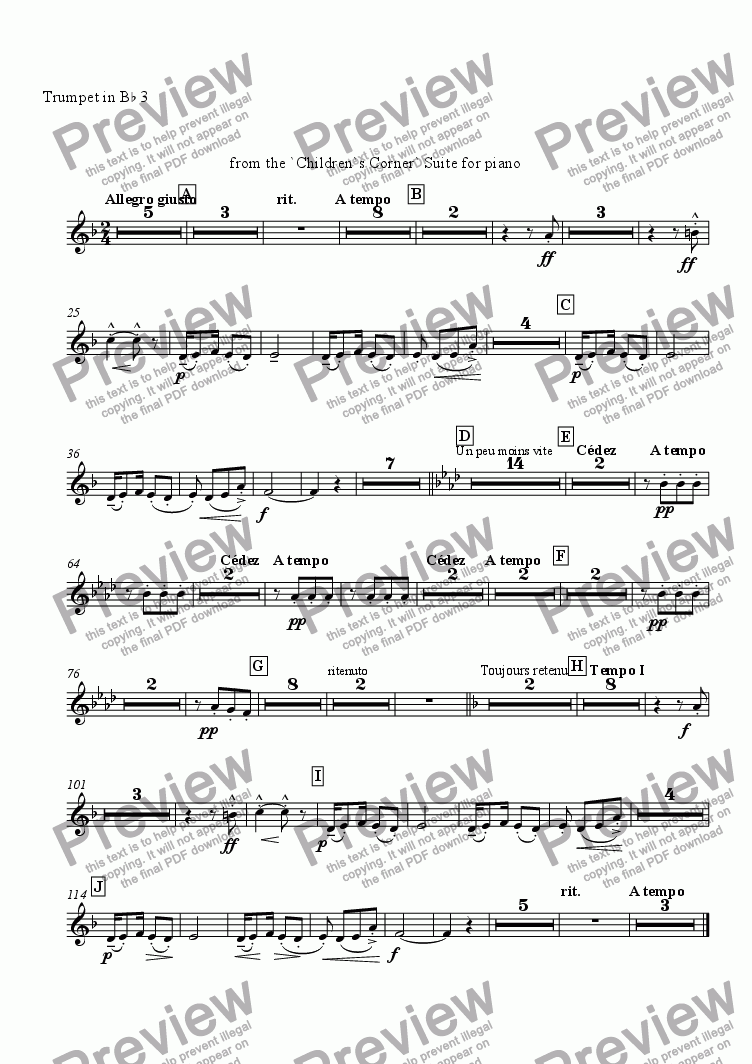 page one of the Trumpet 3 in Bb part from Golliwogg's Cake-Walk