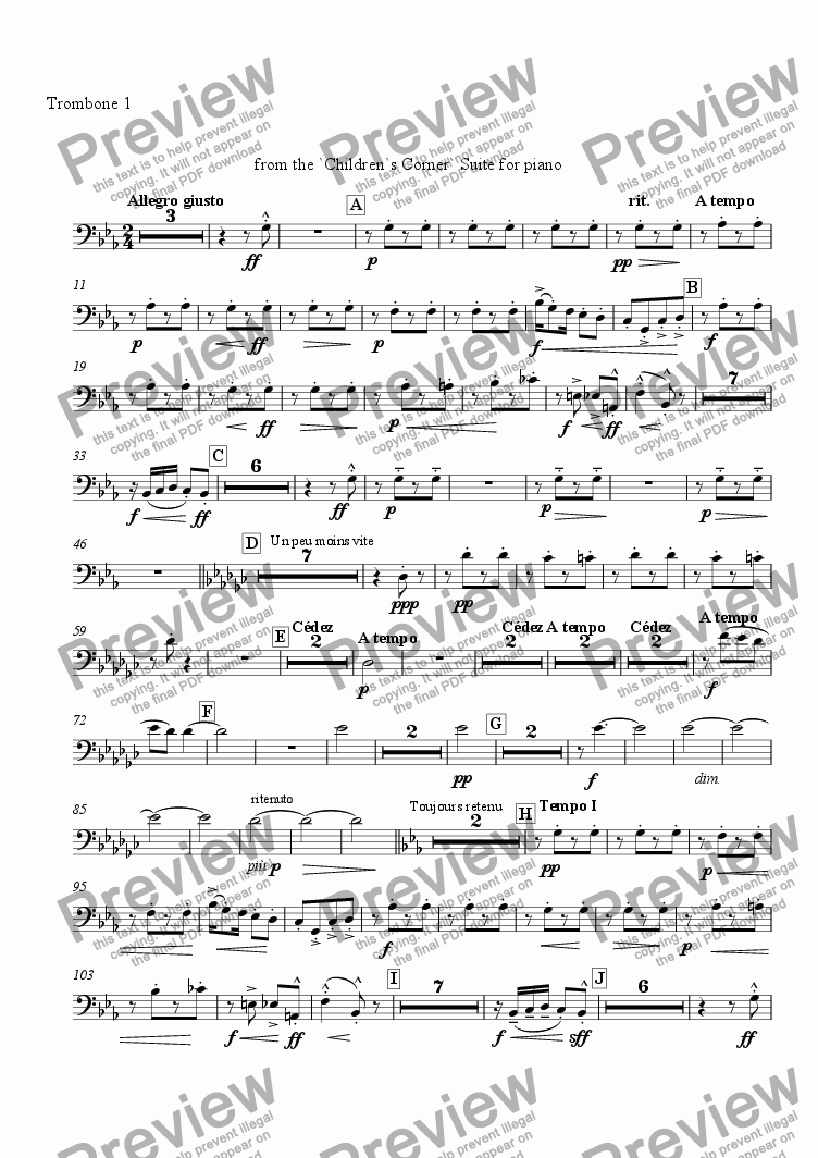 page one of the Trombone 1 part from Golliwogg's Cake-Walk