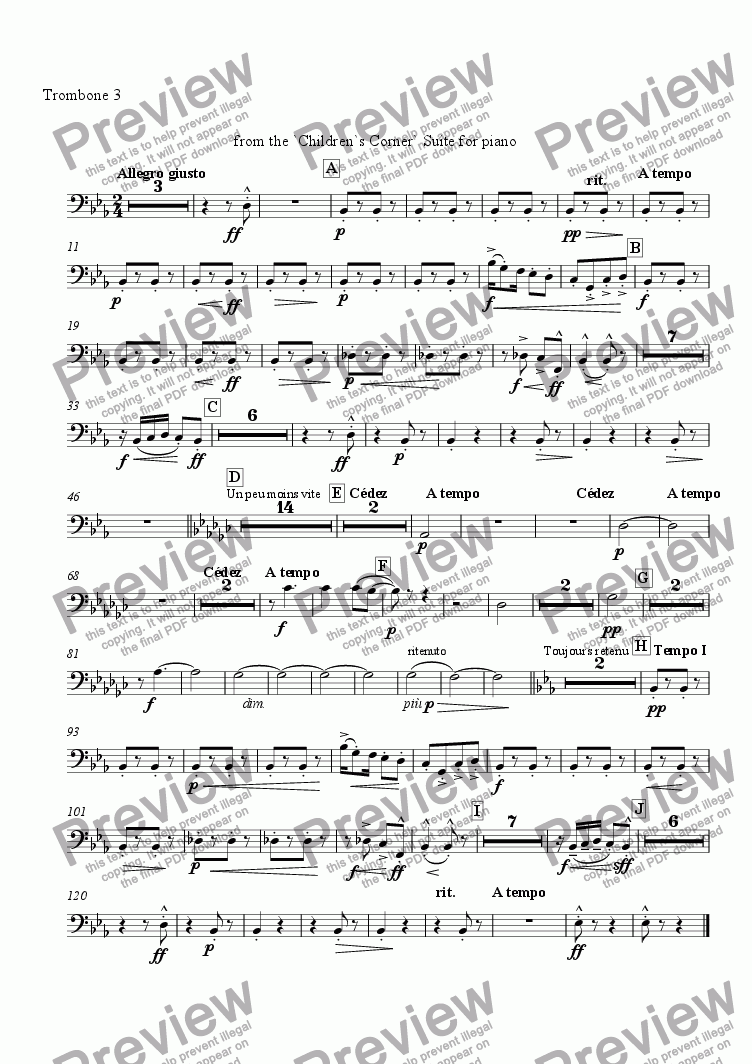 page one of the Trombone 3 part from Golliwogg's Cake-Walk