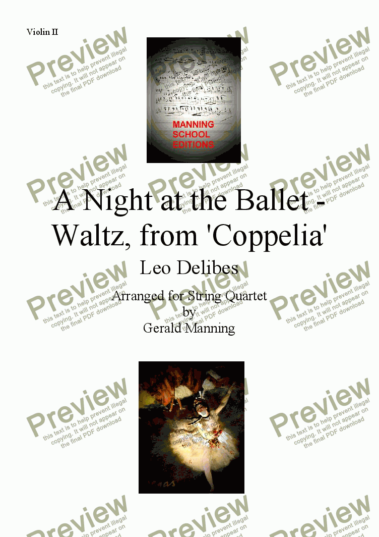 page one of the Violin II part from A Night at the Ballet - Delibes, Leo. - Waltz, from 'Coppelia' - arr. for String Quartet by Gerald Manning