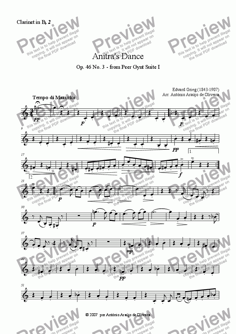 page one of the Clarinet in Bb 2 part from Anitra's Dance