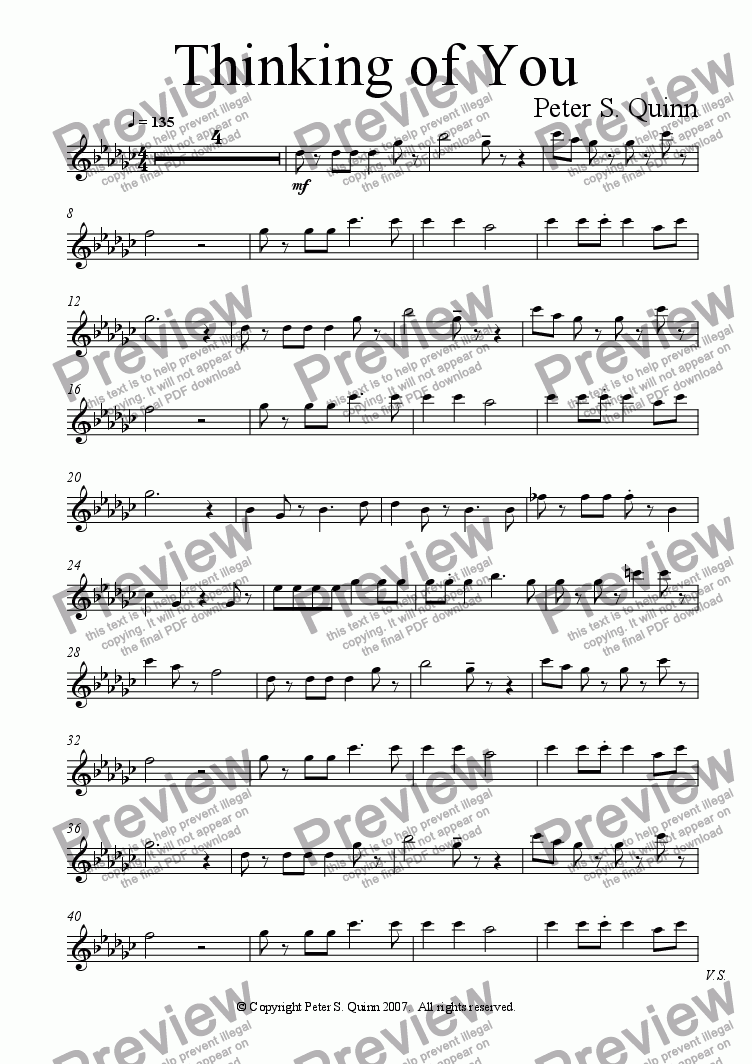 page one of the Alto Recorder part from Thinking of You