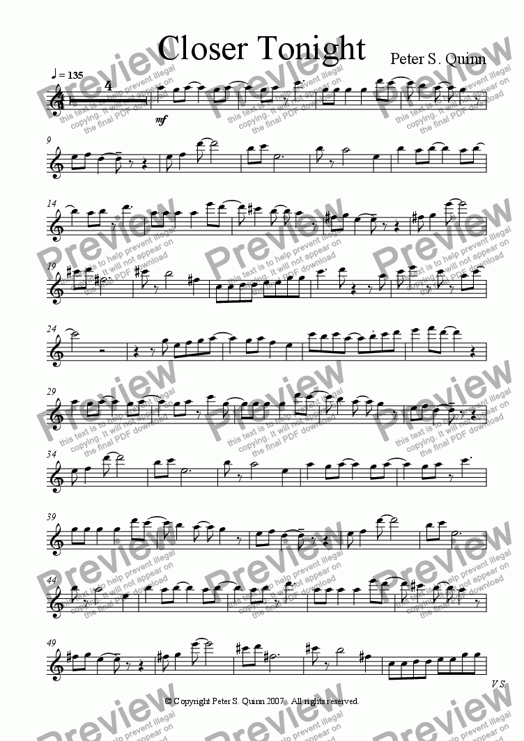 page one of the Piano part from Closer Tonight