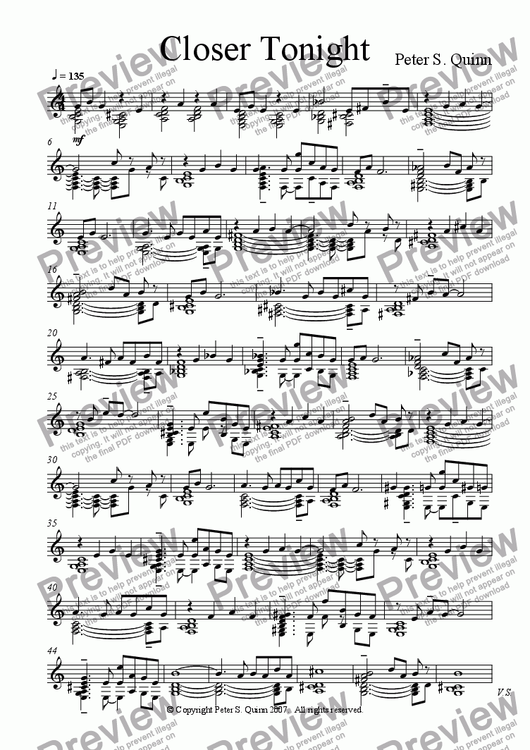 page one of the String Ensemble part from Closer Tonight