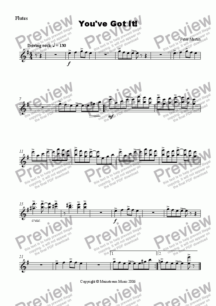 page one of the Flute part from You've Got It! - Orchestra