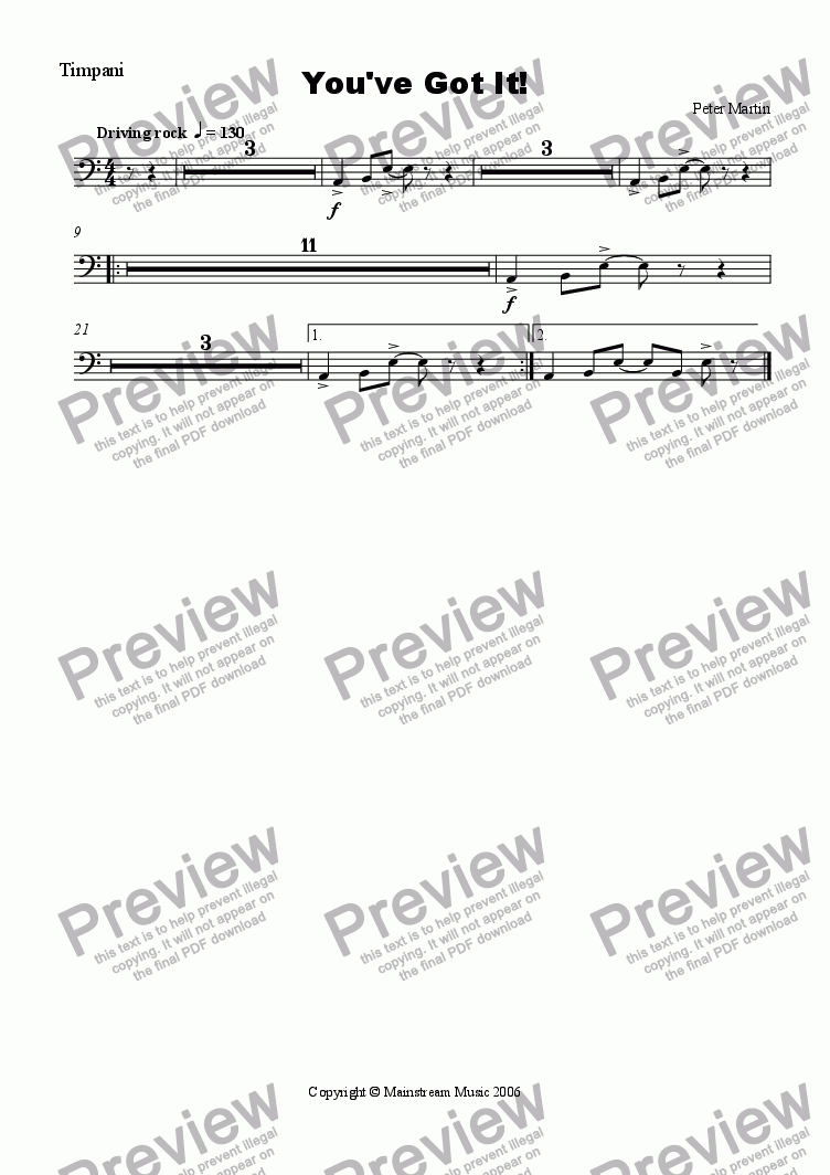 page one of the Timpani part from You've Got It! - Orchestra