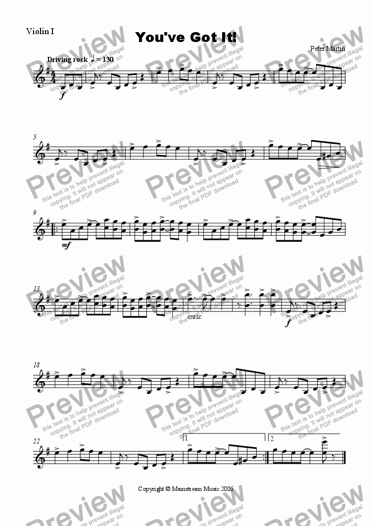 page one of the Violin 1 part from You've Got It! - Orchestra