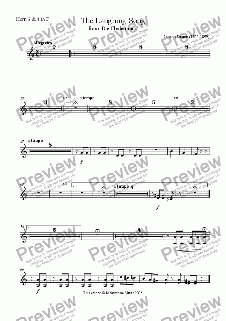 page one of the Horn in F 3 & 4 part from The Laughing Song from 'Die Fledermaus'
