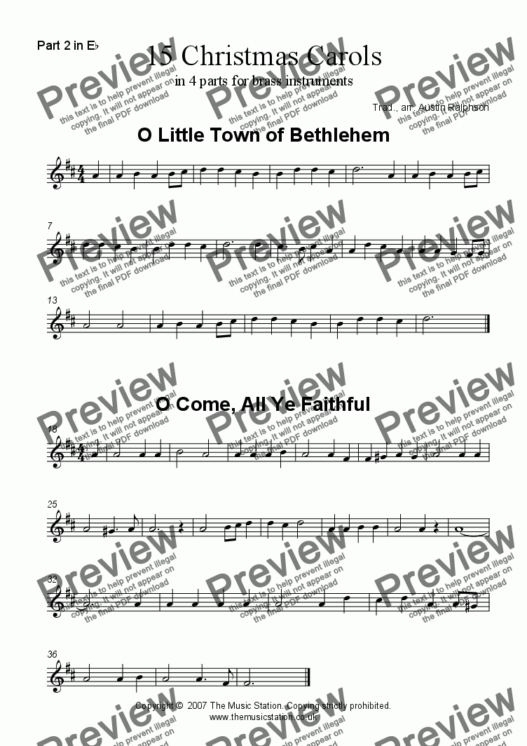 page one of the Part 2 in Eb part from 15 Christmas Carols - brass quartet / quintet