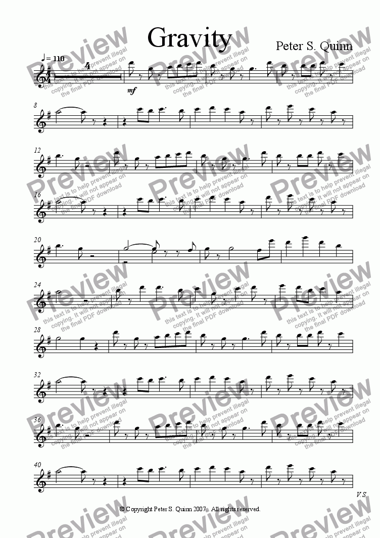 page one of the Piano part from Gravity