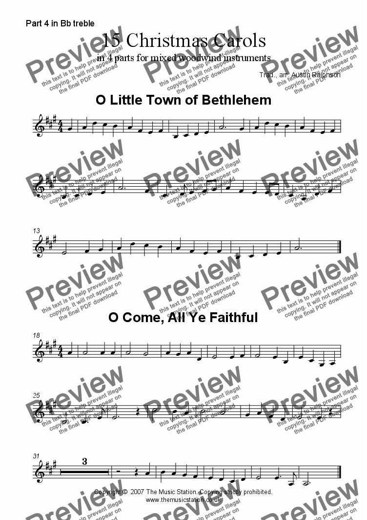 page one of the Part 4 in Bb treble part from 15 Christmas Carols for wind (mixed)