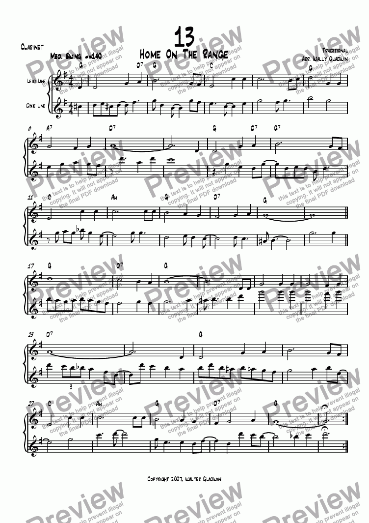page one of the Clarinet part from Dixiechart 13. Home On The Range