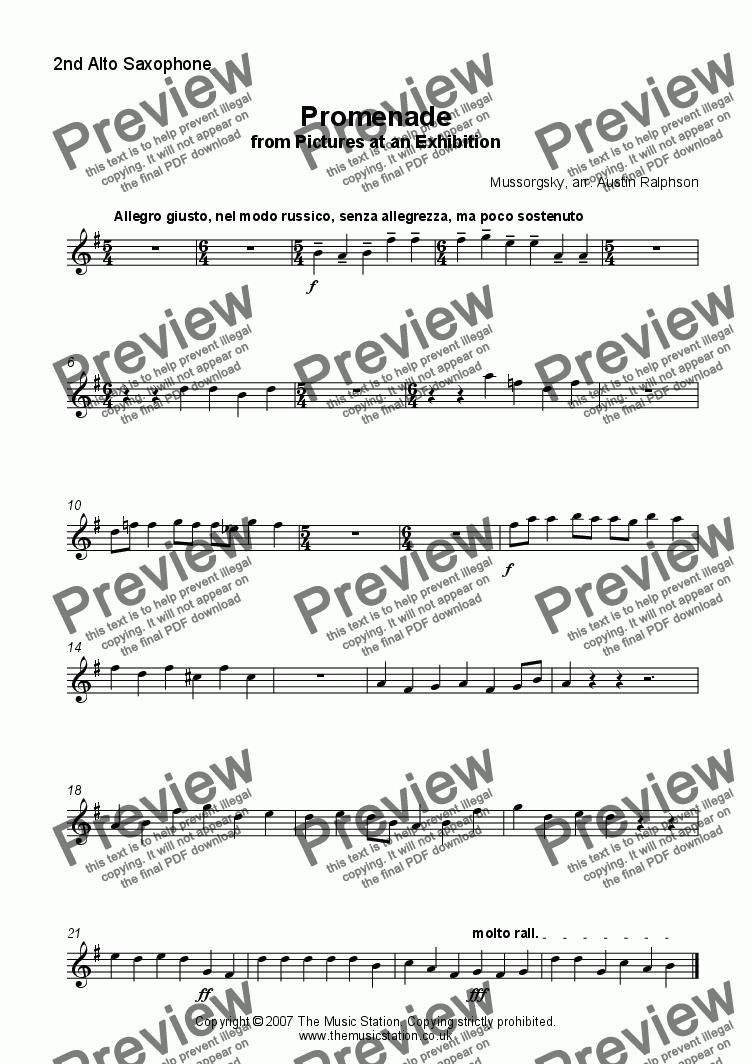 page one of the Alto 2 part from Promenade from 'Pictures' - saxophone ensemble