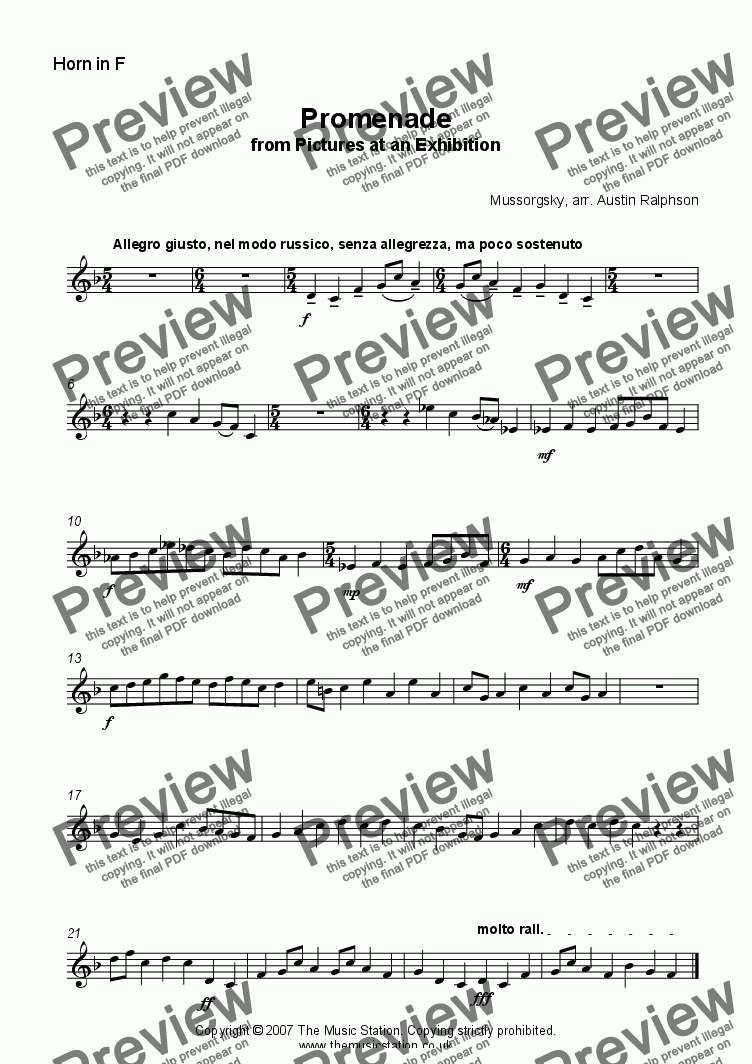 page one of the Horn part from Promenade from 'Pictures' - brass ensemble