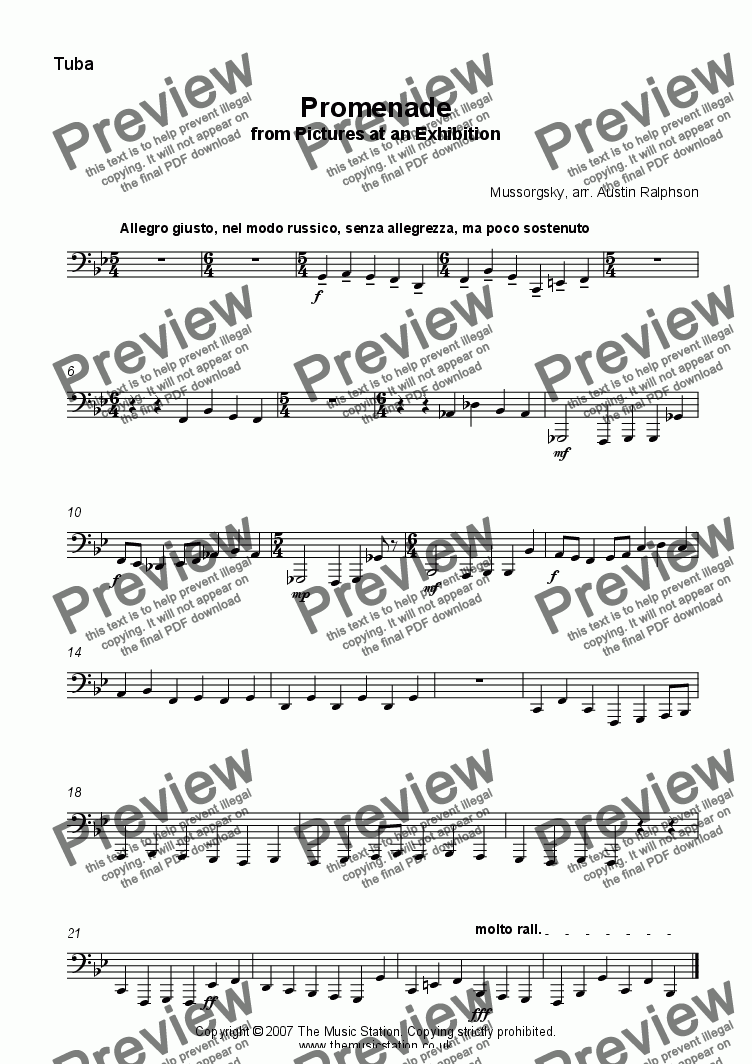 page one of the Tuba part from Promenade from 'Pictures' - brass ensemble