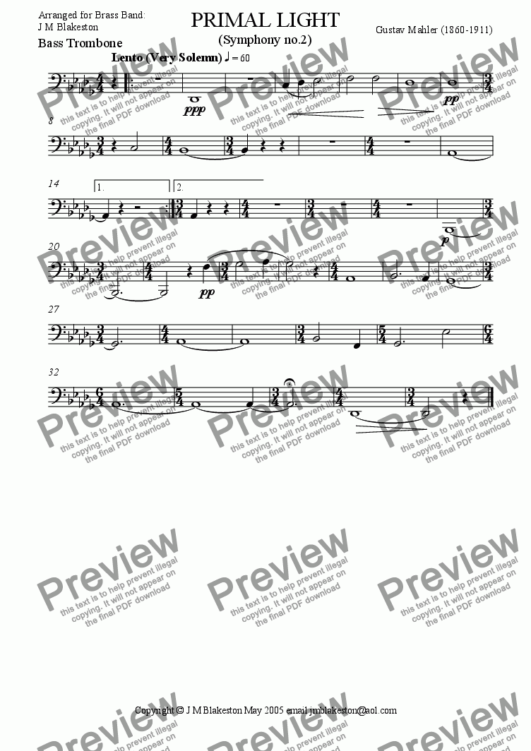 page one of the Bass trombone part from Primal Light (Brass Band)