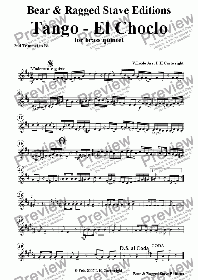 page one of the 2nd Trumpet in Bb part from Tango - El Choclo for brass quintet