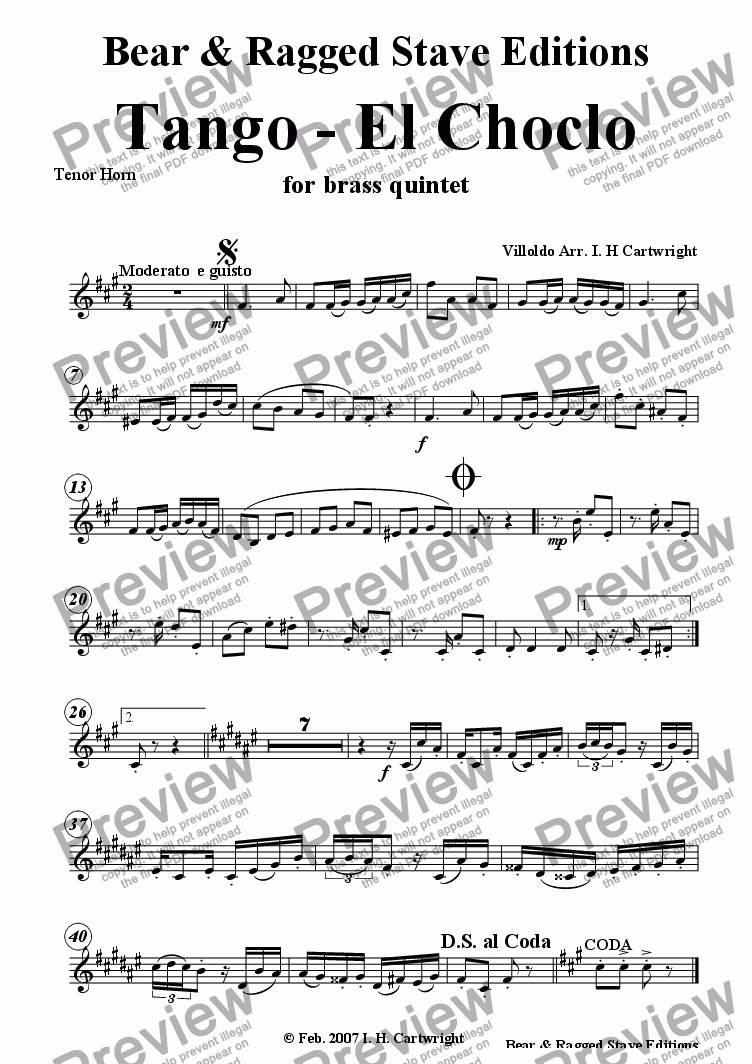page one of the Tenor horn part from Tango - El Choclo for brass quintet