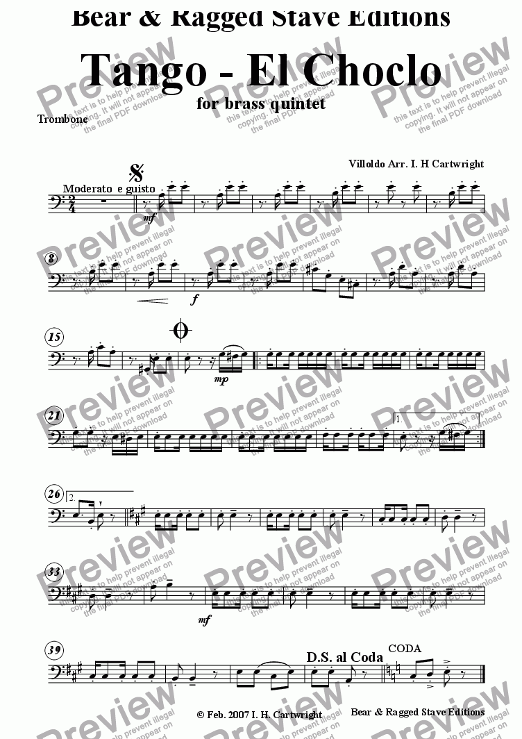 page one of the Trombone part from Tango - El Choclo for brass quintet