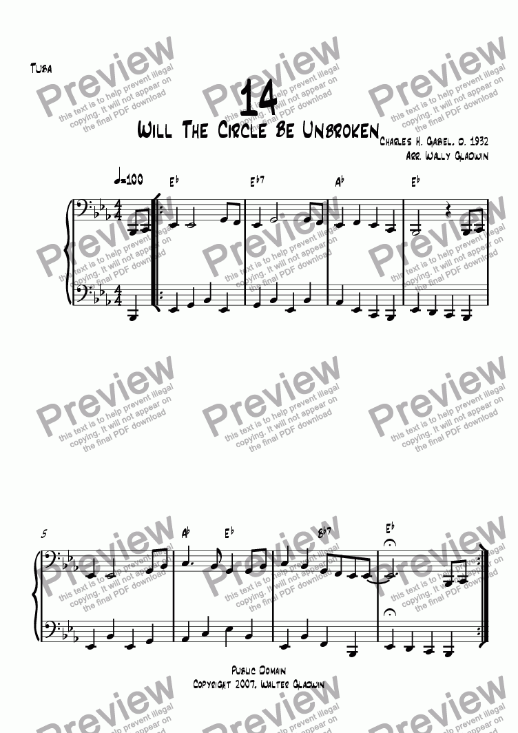 page one of the Tuba part from Dixiechart 14. Will This Circle Be Unbroken