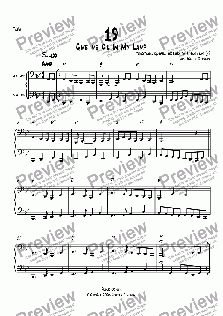 page one of the Tuba part from Dixiechart 19. Give Me Oil In My Lamp
