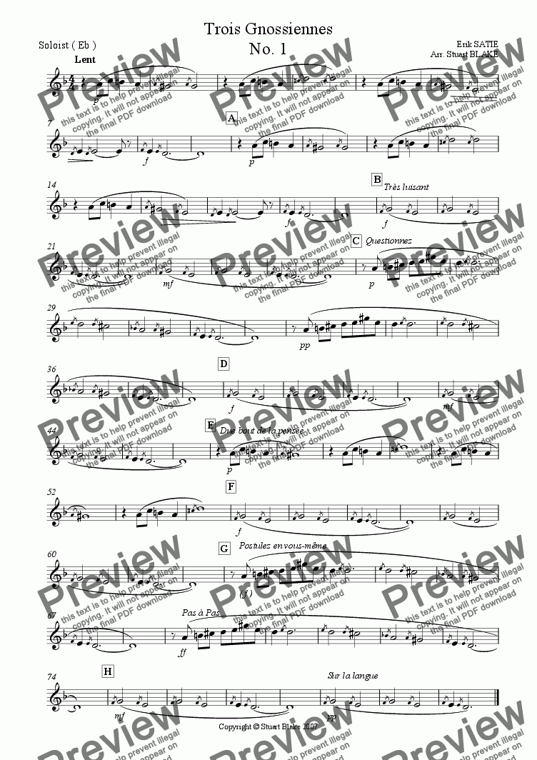 page one of the Soloist in Eb part from Gnossiennes No. 1 (variable soloist plus euphonium/trombone quartet)