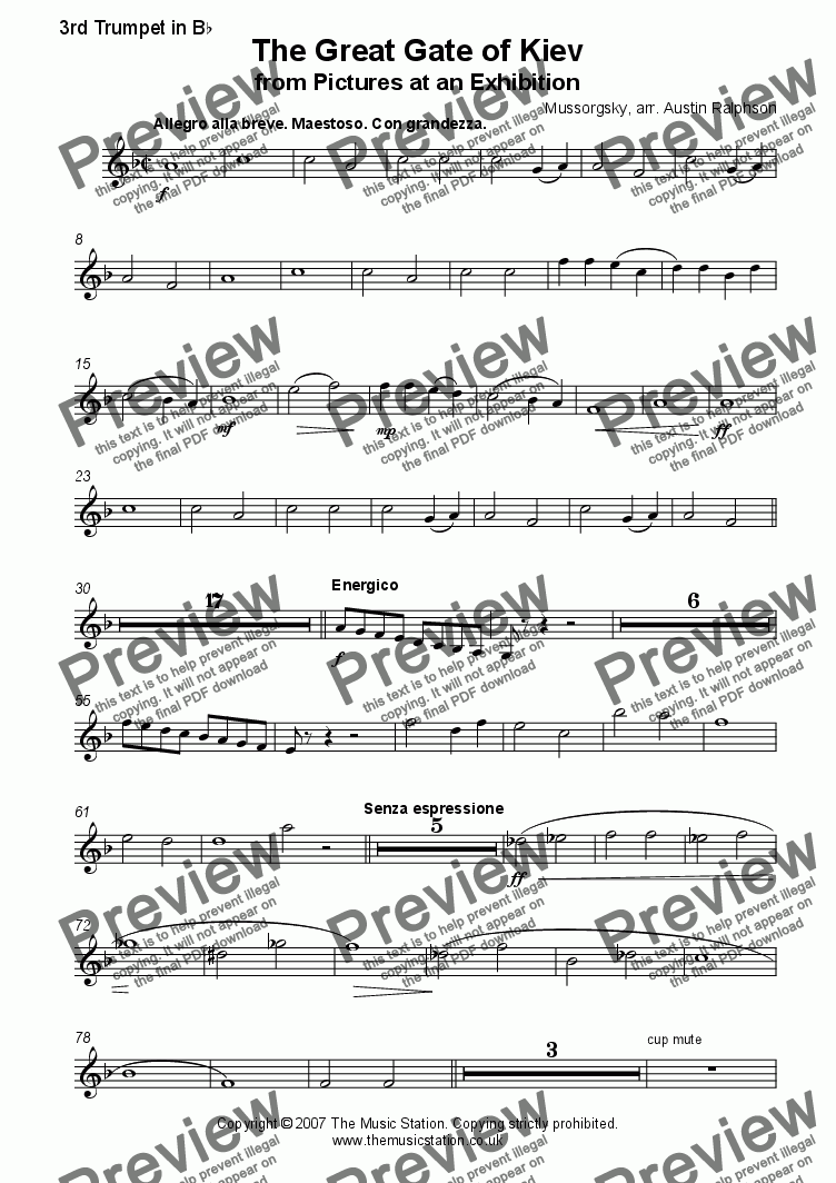 page one of the Trumpet 3 part from The Great Gate of Kiev from 'Pictures' - brass ensemble