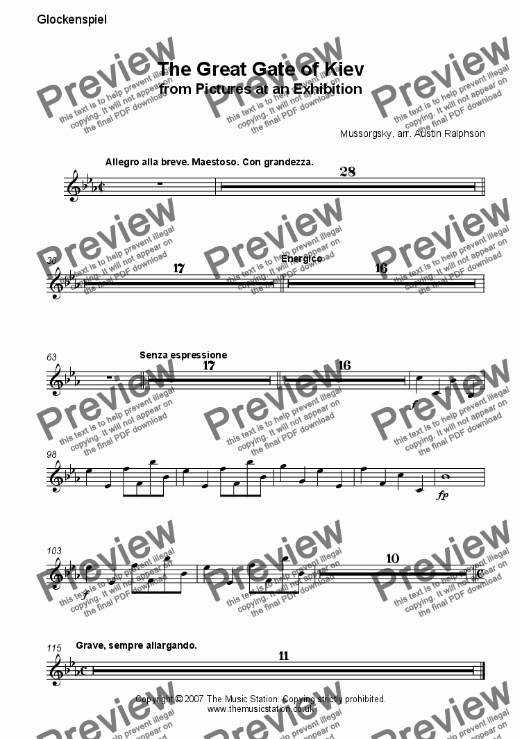 page one of the Glockenspiel part from The Great Gate of Kiev from 'Pictures' - brass ensemble