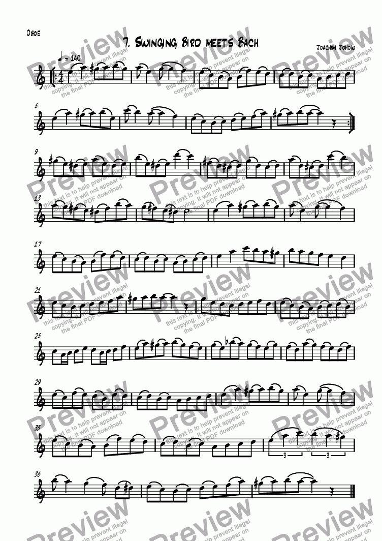 page one of the Ob part from Oboe Book 07 (Swinging Bird meets Bach)