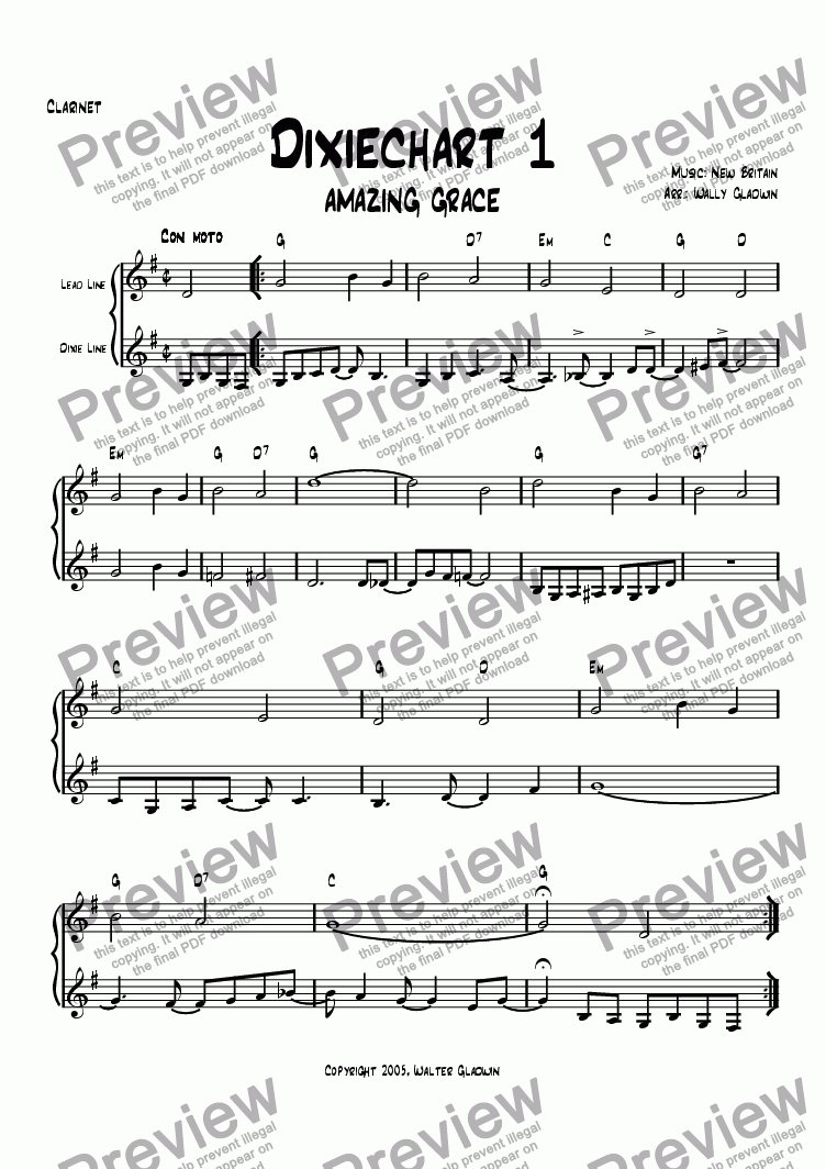 page one of the Clarinet part from The Dixiechart Book 1 (#1 - #24)