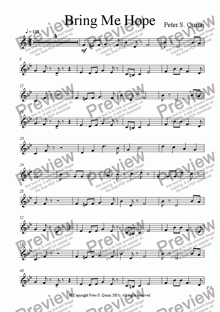 page one of the Piano part from Bring Me Hope