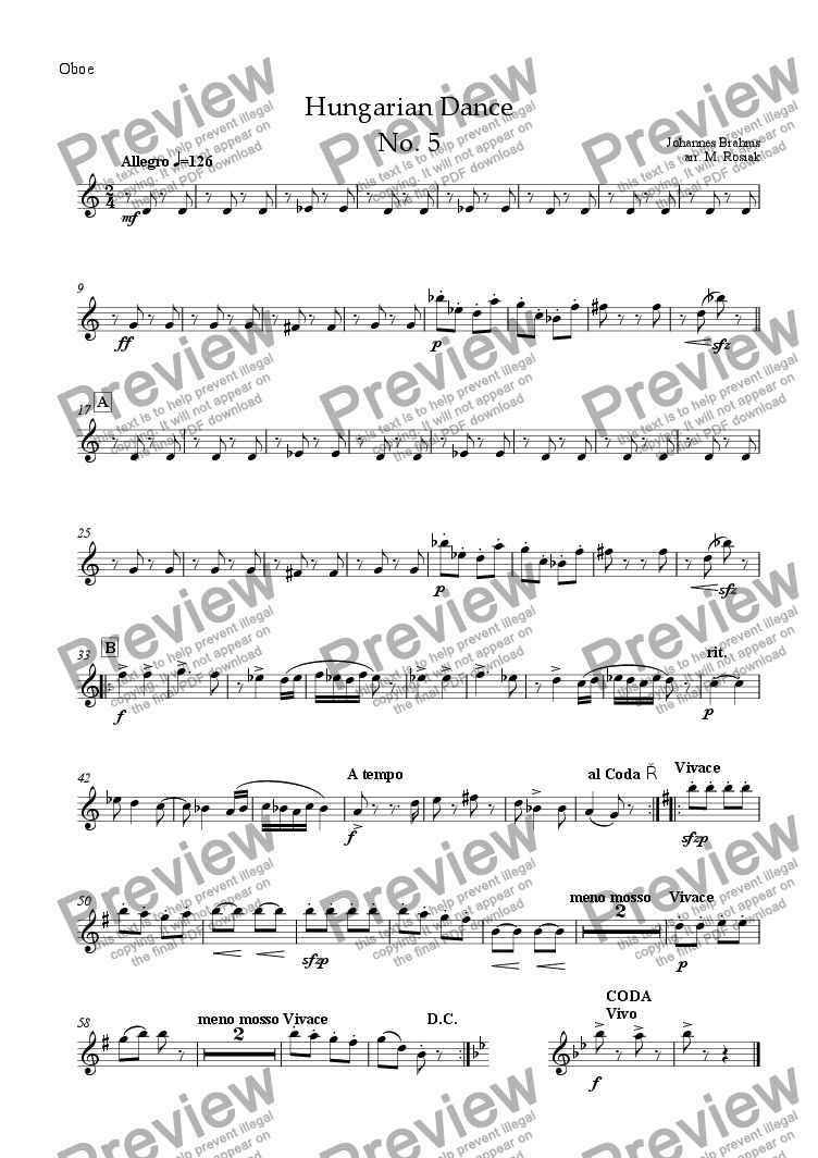 page one of the oboe part from Hungarian Dance No.5