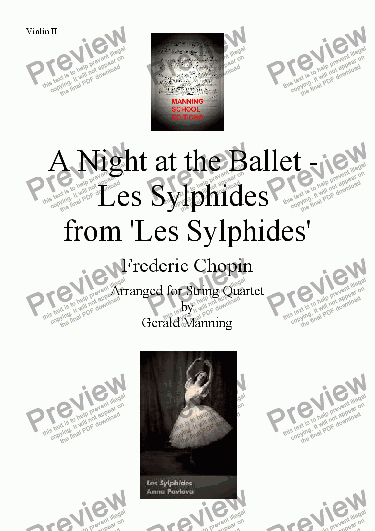 page one of the Violin II part from A Night at the Ballet - Chopin, F. - Les Sylphides - arr. for String Quartet by Gerald Manning