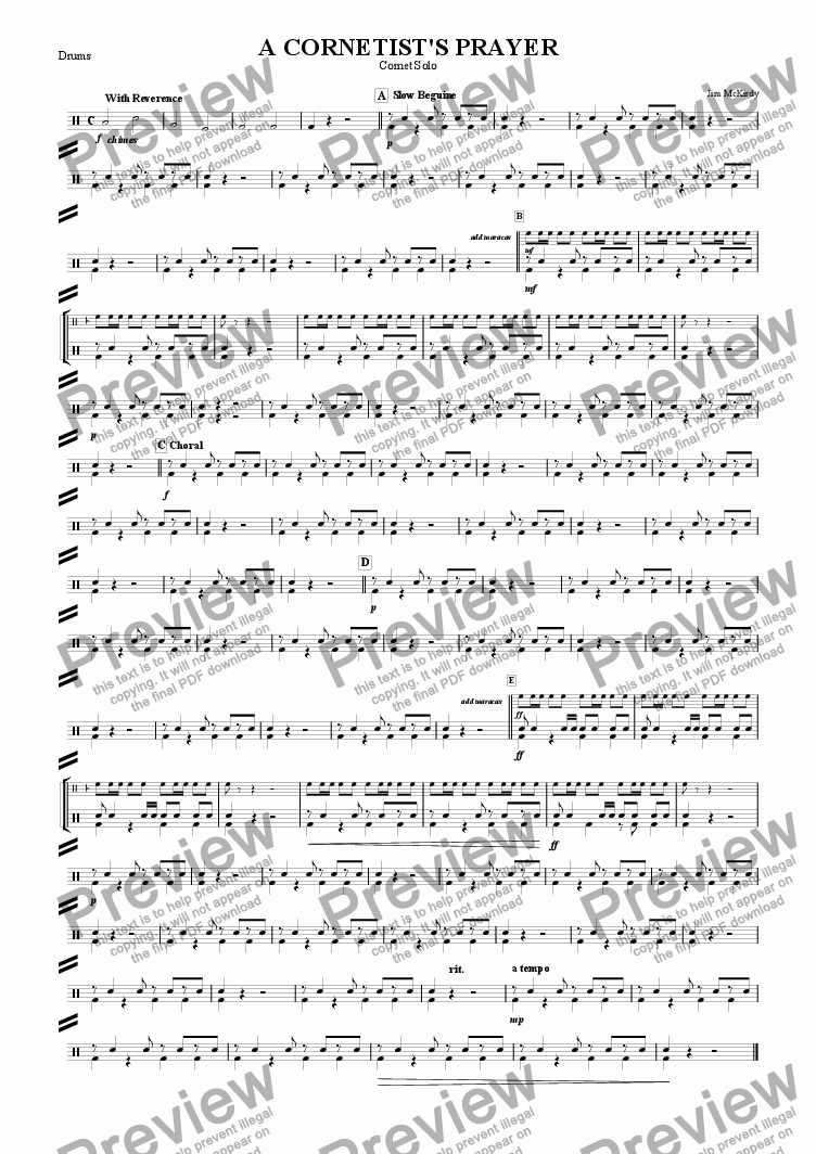 page one of the Drums part from A Cornetist's Prayer (10 Piece)