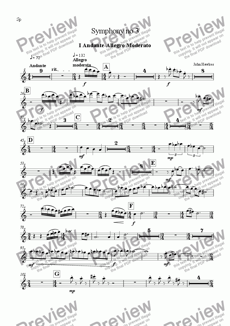 page one of the Sopranino part from Recorder Symphony no 3