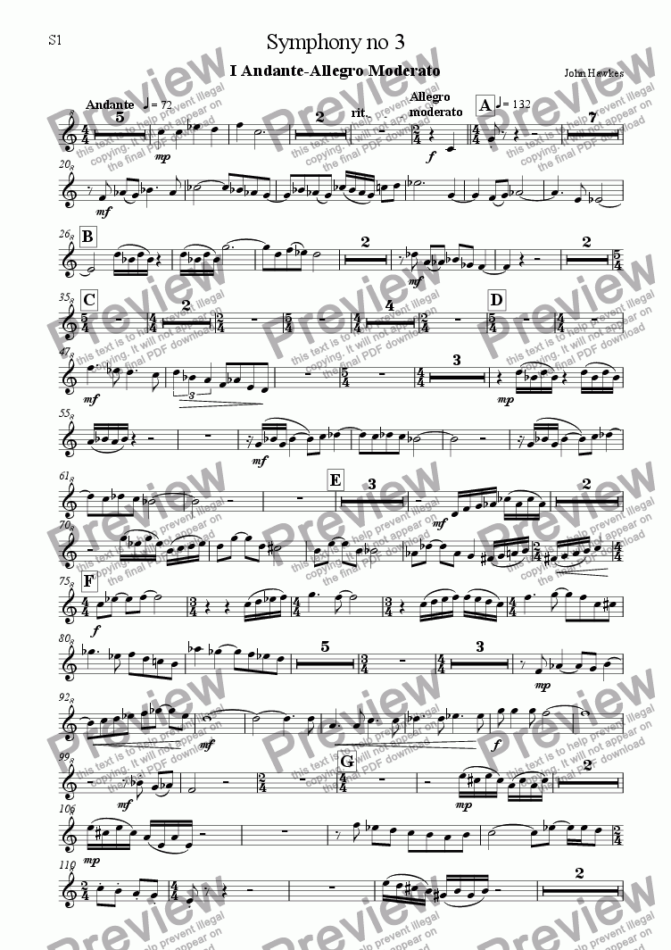 page one of the Soprano 1 part from Recorder Symphony no 3
