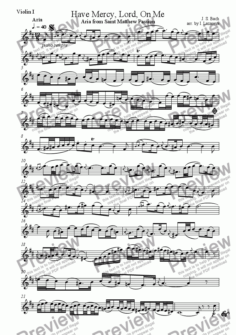 page one of the violin I part from Have Mercy, Lord, On Me (Aria from Saint Matthew Passion)