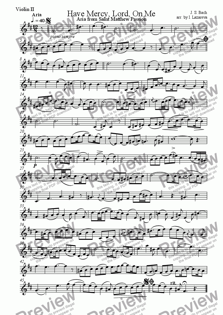 page one of the violin II part from Have Mercy, Lord, On Me (Aria from Saint Matthew Passion)
