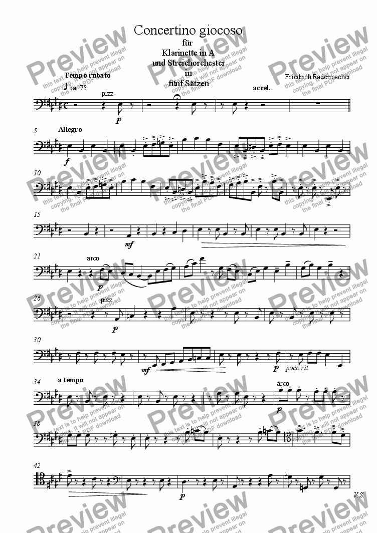 page one of the Violoncello part from Concertino giocoso