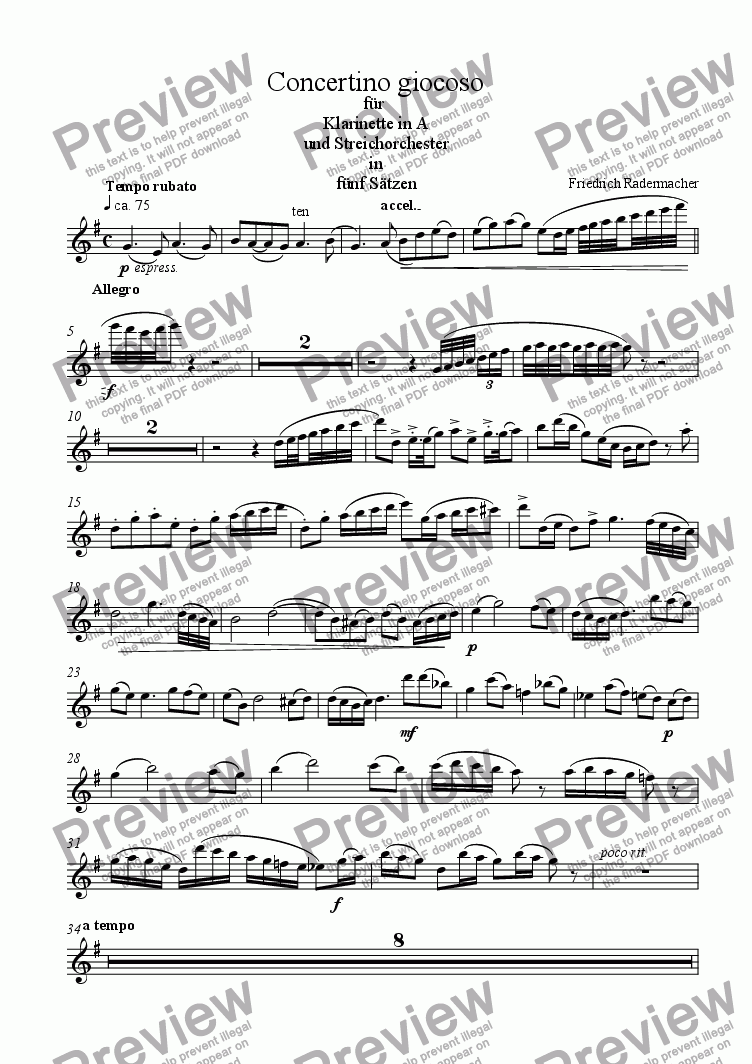 page one of the Klarinette part from Concertino giocoso