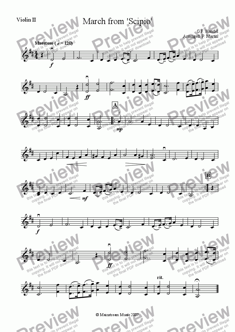 page one of the Violin 2 part from March from 'Scipio'